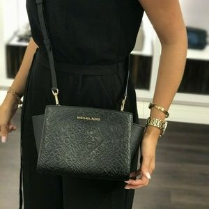 Michael Kors Selma MD Crossbody Bag Black leather